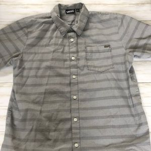 VANS grey striped short sleeve button down